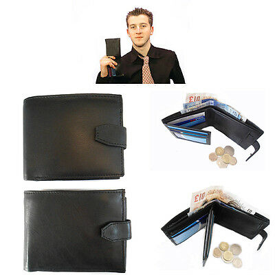 3-Section Mens Wallet Soft Real Leather Black Soft Gents Purse Money Coin Holder