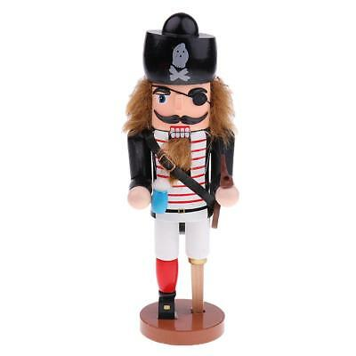 25cm Wooden Nutcracker Nautical Sea Pirate Statue Christmas Toy Collectible