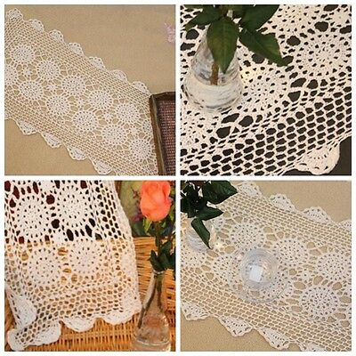 """Country Beige Hand Crochet Cotton Linen Table Runner Doily 13x48""""ON SALE"""