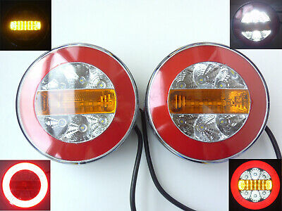 2x 12/24V round NEON ring LED hamburger Rear Tail Lamp Light Truck Lorry Trailer