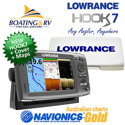 Lowrance HOOK 7 COMBO with Navionics Plus Maps + Cover + Transducer - FREE POST