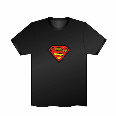 Sound Activated LED T-Shirt Music Flash Super Man Glow in the dark Party Disco