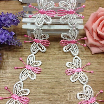 10pcs Vintage Pink White Butterfly Lace Edge Trim Ribbon Applique Fabric Sewing