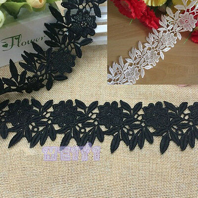 2y Vintage Flower Embroidered Lace Edge Trim Ribbon Bridal Applique Sewing Craft