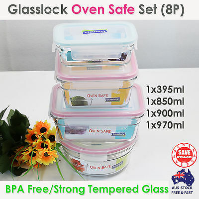 GLASSLOCK 4PC Oven Safe Glass Food Container Set Storage Microwave BPA Free