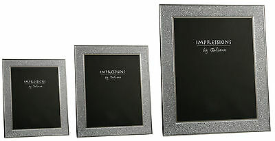 """Stylish Silver Sparkly Glitter Impressions Photo Picture Frame Frames 8"""" x 10"""""""