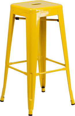 Flash Furniture 30'' High Backless Yellow Metal Indoor-Outdoor Barstool with...