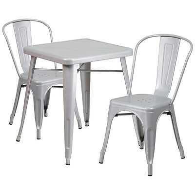 Flash Furniture Silver Metal Indoor-Outdoor Table Set with 2 Stack Chairs