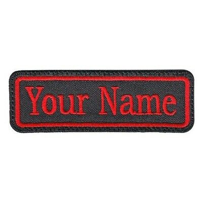 Rectangular 1 Line Custom Embroidered Biker SEW ON  Name Tag PATCH (BR)