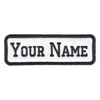 Rectangular 1 Line Custom Embroidered Biker SEW ON  Name Tag PATCH (BW)