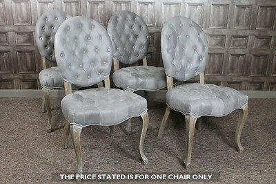 Upholstered Dining Chair French Style Cafe Chair With Button Back In Silver Grey