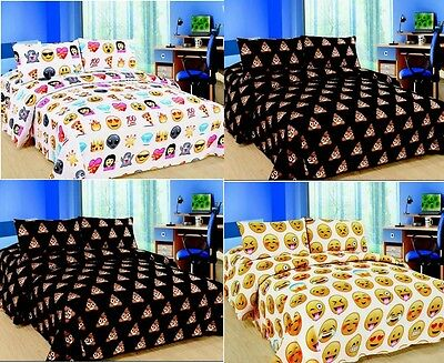 Emoji Emotion Duvet Cover Set | Pizza | Smiley Faces | Pooh | Single Double King