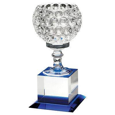 Clear/Blue Glass Golf Award - 3 sizes  - supplied in box - engraved f.o.c.