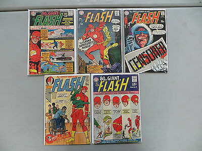 Flash 5 Issue Silver Age Comic Run Lot 160 182 193 201 Eighy Pg Giant 4 Dc