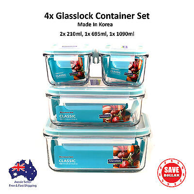 Glasslock 4x Tempered Glass Food Container Storage set Microwave Safe BPA Free