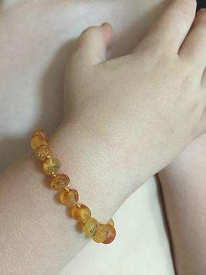 Certified Amber Teething Anklet/Bracelet for baby or toddler - Raw Honey