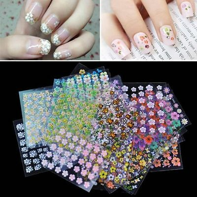 10/50Pcs Hot 3D Design Nail Art Transfer Stickers Manicure Tips Decal Decoration