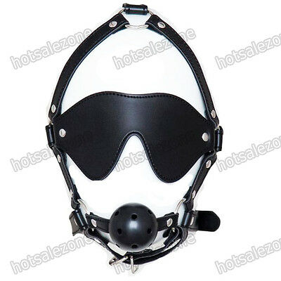 PU Leather hard Ball Mouth Gag Blindfold Eye patch Mask Head Harness Restraints