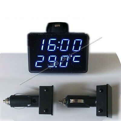 Voltmeter + Thermometer+ clock 12v 24v Car Cigarette Lighter Socket Monitor auto