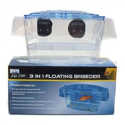 Aquarium 3 in 1 Floating Breeder Breeding Tank Betta Display Fry Isolation Tank