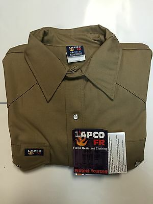 Lapco 7oz Flame Retardant Khaki Work Shirt Large