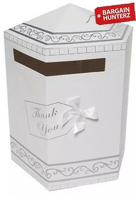 Wedding Gifts Thank You Card Post Box Mailbox White & Silver New QUICK DESPATCH