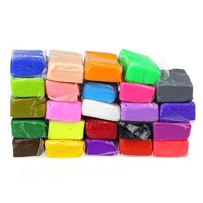 24 Colors Kid DIY Toy Malleable Fimo Polymer Modelling Clay Blocks Plasticine