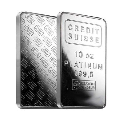 10 oz Credit Suisse Platinum Bar .9995 Fine (w/Assay)