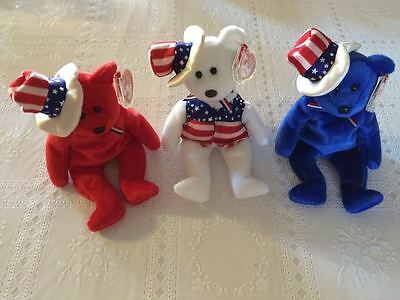 TY Beanie Babies - SAM the Bear (Set of 3 - Red, White & Blue)