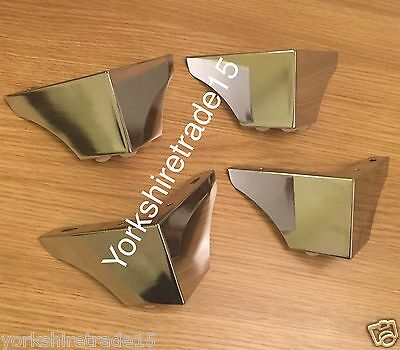4x CHROME FEET -  FURNITURE LEGS FOR SOFAS CHAIRS SETTEE STOOLS PRE DRILLED