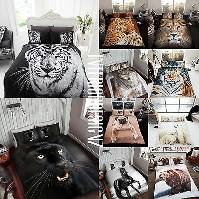 NEW Animal 3D Printed Bedding Duvet Quilt Cover Pillowcases Single Double King