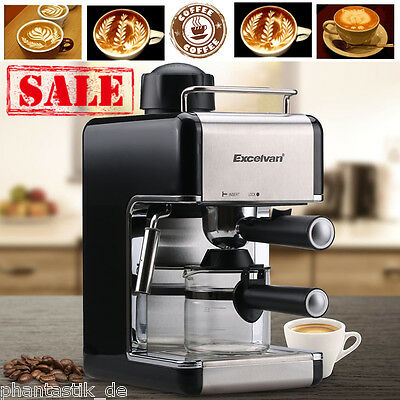 4-Cup Stainless Filter Coffee Maker Machine for Steam Espresso Cappuccino Latte