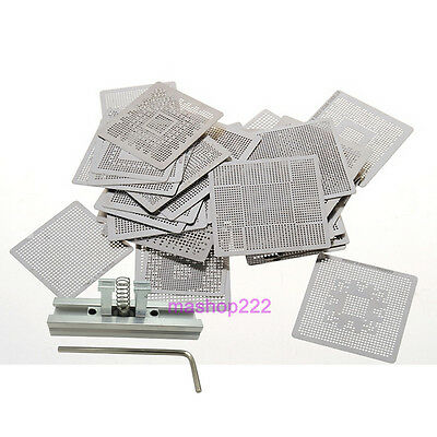 40pcs Commonly Directly Heated BGA Reballing Stencils with Reballing Station Kit