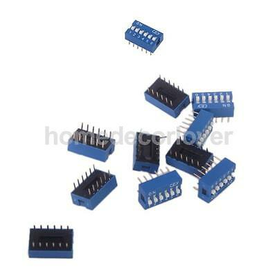10pcs 6P 6 Position DIP Switch 2.54mm Pitch 2 Row 12 Pin Slide Switch - Blue