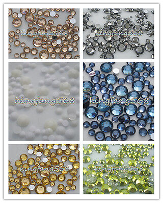 400pcs 3mm-6mm 14 faceted cut crystal resin round rhinestones flatback mix size