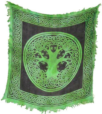 Green Tree of Life & Celtic Knots Wicca Pagan 18x18 Altar Tarot Side Table Cloth