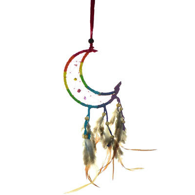 Small Crescent Moon Rainbow Dream Catcher with Real Feathers & Beads Hangs 6""