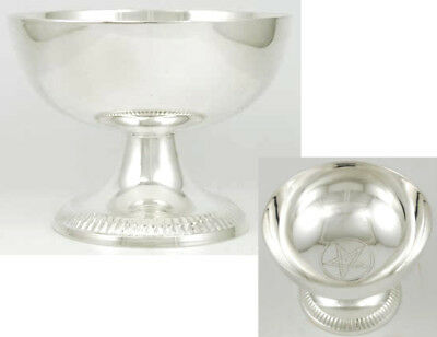 "Silver Plated Hidden Pentagram Offering Scrying Bowl Chalice 3-3/4"" Wicca Pagan"