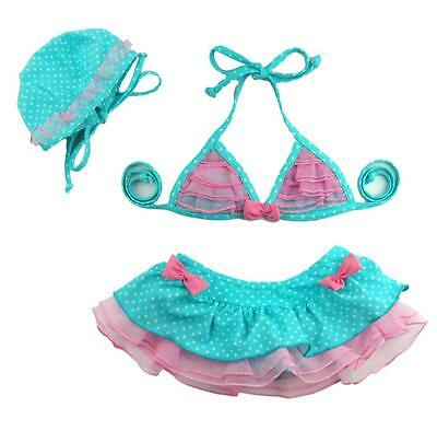 Baby Girls Bikini Set Children 3PCS Swimwear Bathing Suit Swimsuit Swim Hat Sets