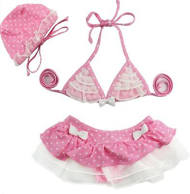 Baby Girls Kids Bikinis Hat Sets 3PCS Swimwear Bathing Suit Lace Skirt Costume