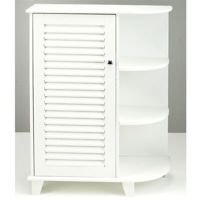 NEW White Floor Cabinet with Side Shelves on Right