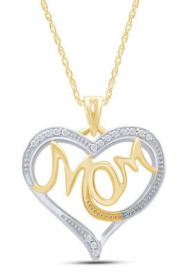 """18K Gold Over Diamond Accent 'MOM' Heart Pendant on 18"""" Necklace Valentine Gifts"""