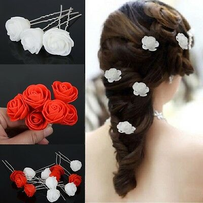 6X Small Rose Flower Hair Pins Wedding Bridal Flowers Women Girls Hair Accessory