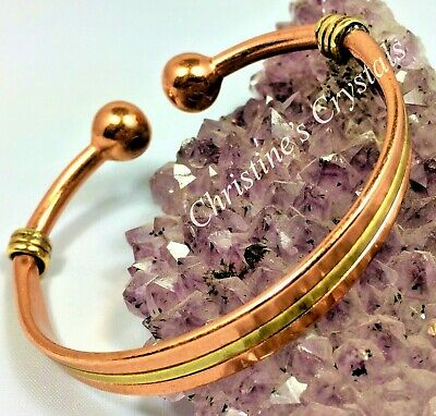 Solid Copper MAGNETIC TORQUE inlaid with BRASS Bracelet Healing Arthritis MB35