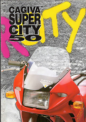 Cagiva Super City 50 Early 1990s UK & Italian Market Foldout Sales Brochure