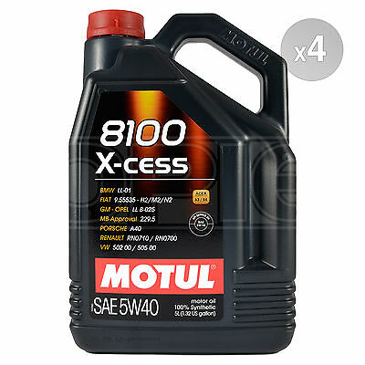Motul 8100 X-cess 5W-40 Fully Synthetic Engine Motor Oil 4 x 5 Litres 20L