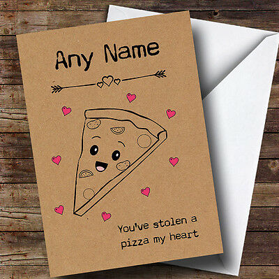 Cute Funny Pizza My Heart Personalised Valentines Card