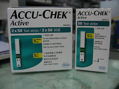 Accu Chek Active Test Strips ( 50 / 100 ) - 1 Code Chip - Expiry January 2017