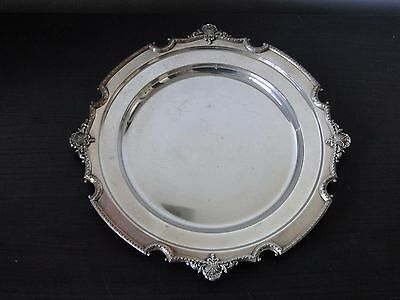 Silver Plated Serving Plate, Antique, Good Size Round & Fancy, Marked Circa 1900
