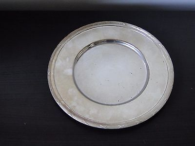 Silver Plated Plate, Antique Good Size Round, Ribbon & Reed  Marked Circa 1900